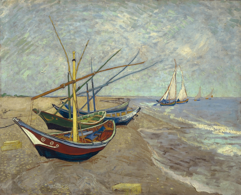 Bateaux de pêche sur la plage aux Saintes-Maries-de-la-mer