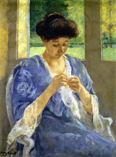 Mary Cassatt Augusta cousant