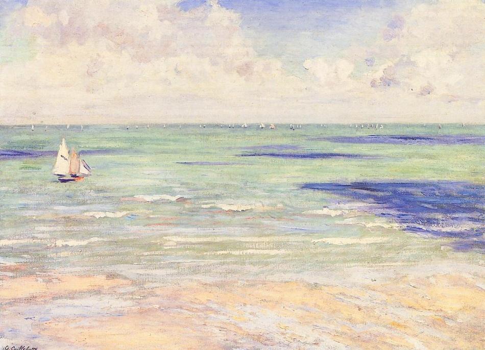 Caillebotte, Bord de mer, régate à Villers
