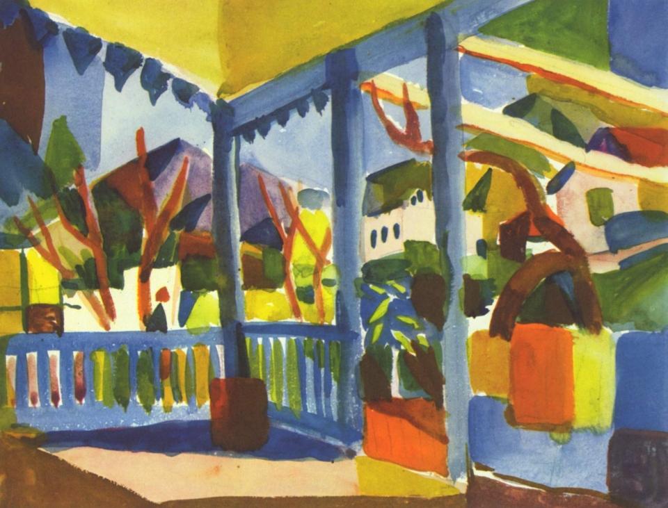 Terrasse de la maison de campagne à Saint-Germain August Macke