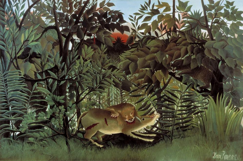Le lion, ayant faim… Douanier Rousseau