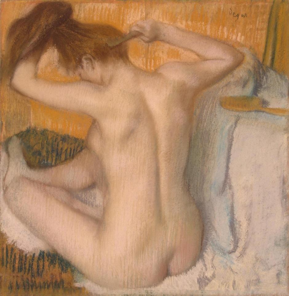 Après la toilette, femme se coiffant, Edgar Degas