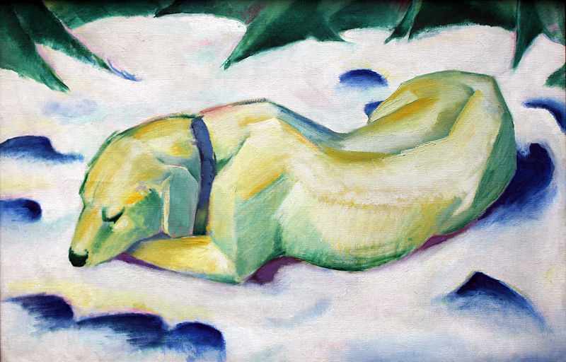 Chien couché dans la neige, Franz Marc