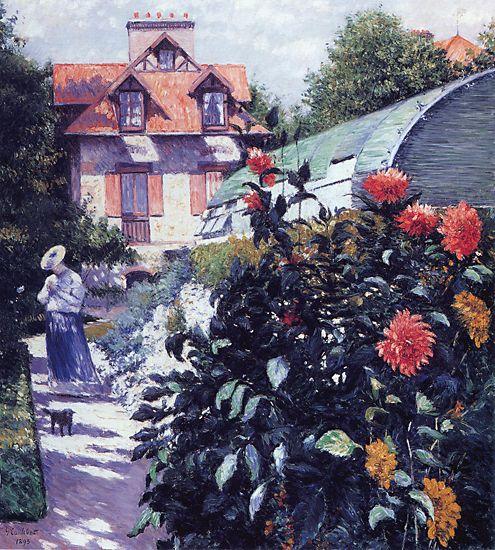 Dahlias : le jardin au Petit-Gennevilliers, Gustave  Caillebotte