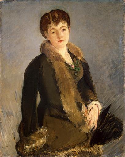 Mademoiselle Isabelle  Lemonnier tenant son chapeau, Édouard Manet