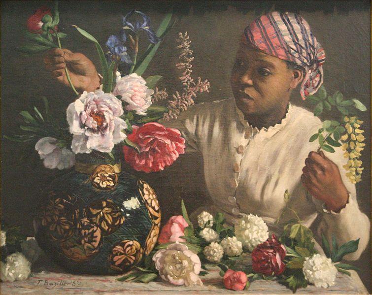Jeune femme noire aux pivoines, Bazille