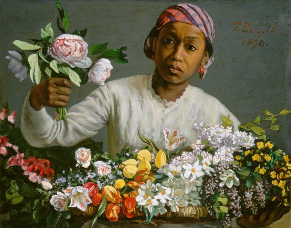 Jeune femme noire aux pivoines, Frédéric Bazille