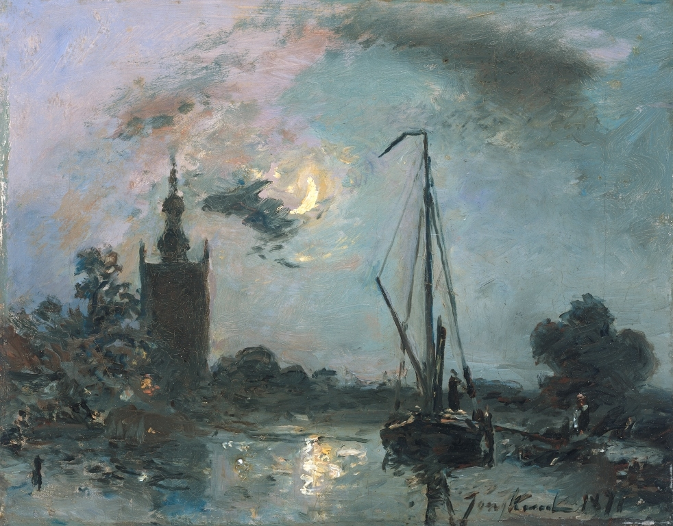 Overschie au clair de lune, Johan Barthold Jongkind