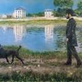Richard Gallo et son chien Dick, au Petit-Gennevilliers, Gustave Caillebotte