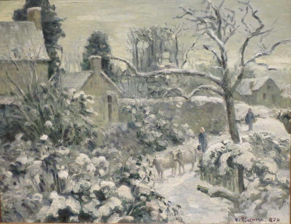 Paysage de neige avec des vaches, Montfoucault,  Camille Pissarro