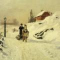 Traîneau attelé à un cheval dans un paysage d'hiver, Frits Thaulow,