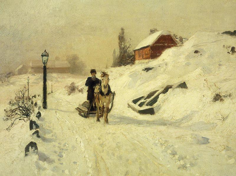 Traîneau attelé à un cheval dans un paysage d'hiver, Frits Thaulow