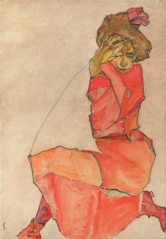 Jeune fille agenouillée à la robe orange, Egon Schiele