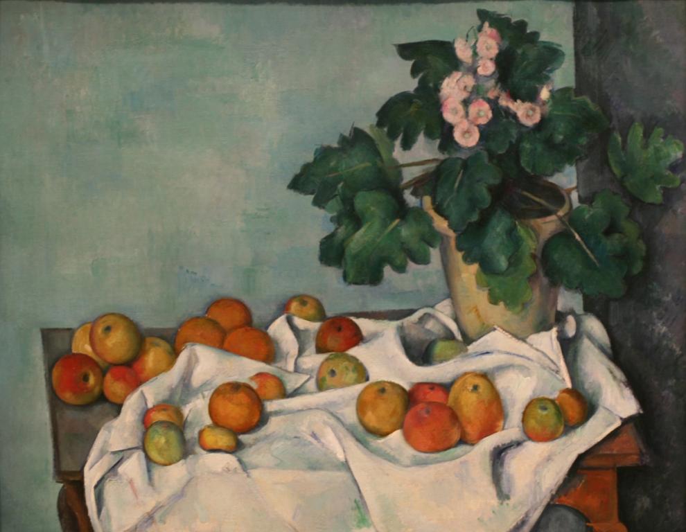Paul Cézanne - Nature morte aux pommes et aux primevères