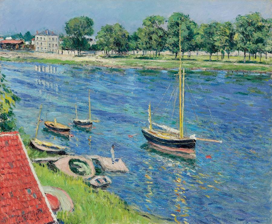 Gustave Caillebotte. La Seine à Argenteuil, bateaux au mouillage, ancienne collection Armand Dorville